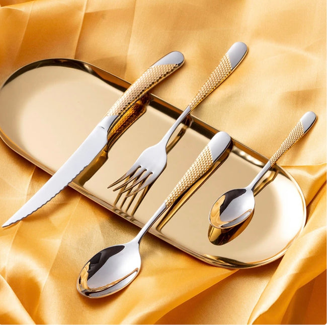Silver Gold Dotted Cutlery Set