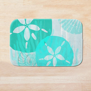 SuperSoft Aqua Blue Seashell Door Mat