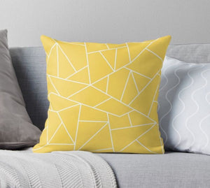 SuperSoft Mustard Yellow White Mosaic Lines