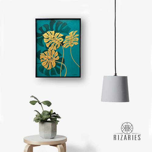 Tropical Leaves Green Handmade Canvas Painting