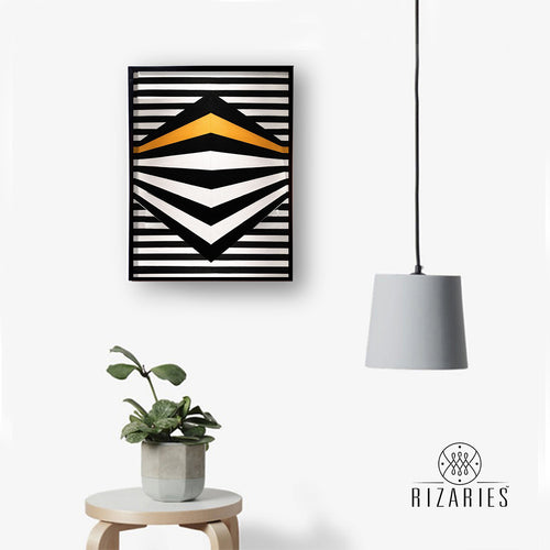 Black & Yellow 3D Handmade Canvas Painting