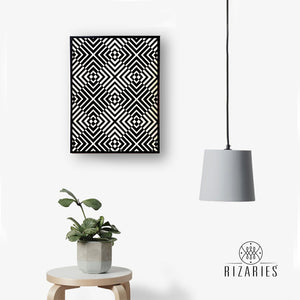Black & White Abstract Geo Canvas Painting