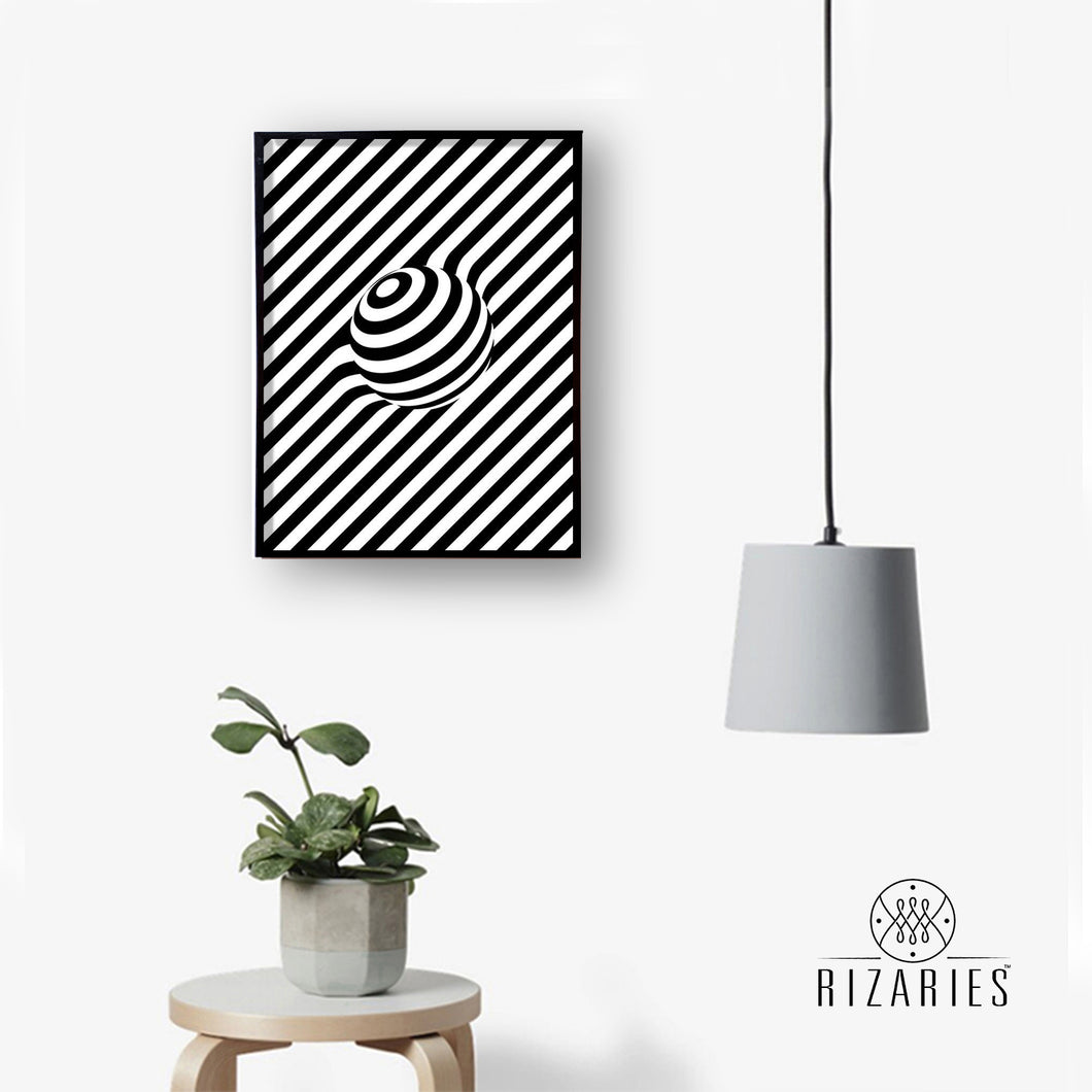 Black & White Ball 3D Handmade Canvas Painting