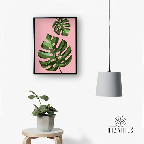 Tropical Leaves Pink Handmade Canvas Painting