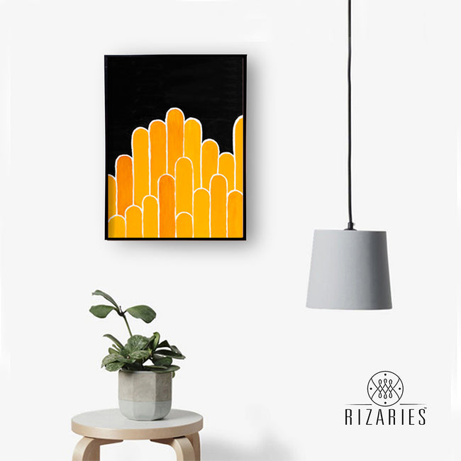 Orange & Yellow Geo Canvas Painting