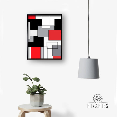 Red Geo Canvas Painting