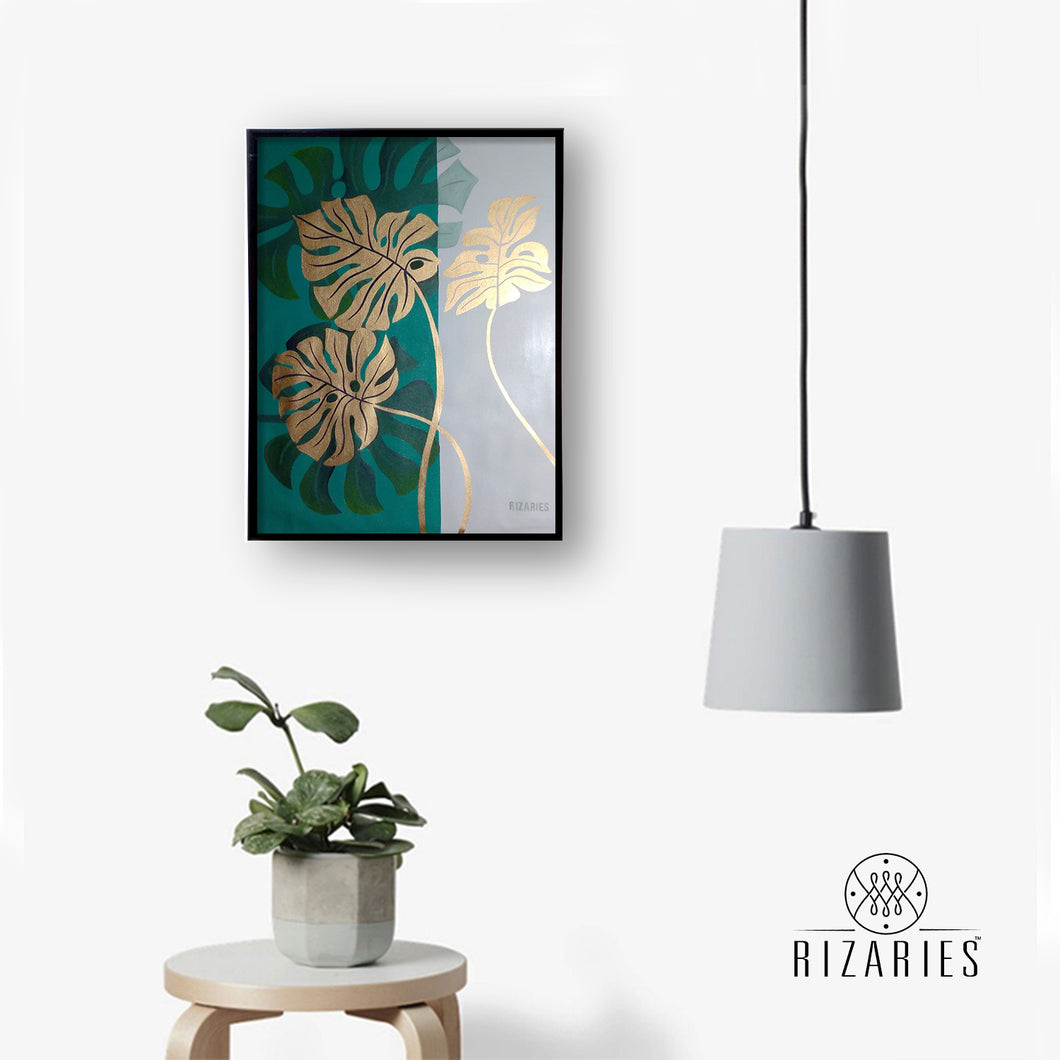 Tropical Leaves Handmade Canvas Painting