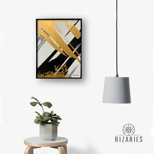 Black & Gold Abstract Canvas Painting