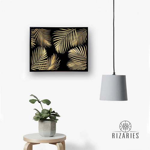 Gold Leaves on Black Canvas Painting