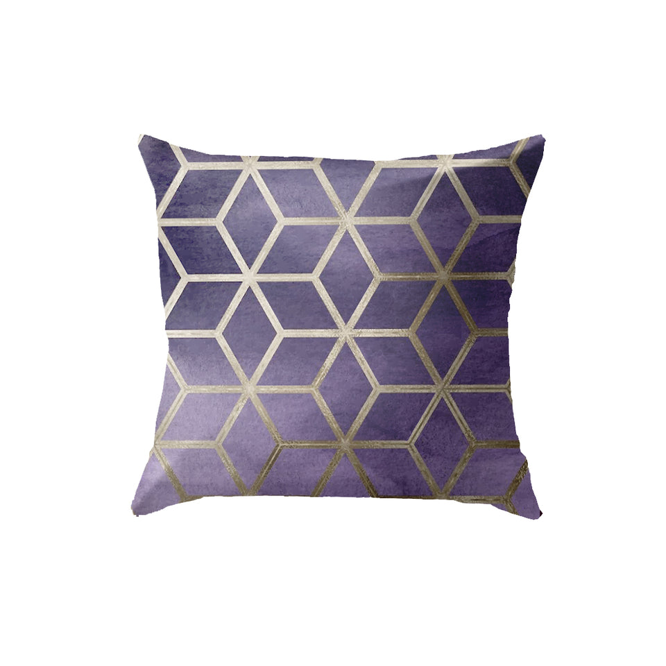 SuperSoft Purple Cubes Throw Pillow