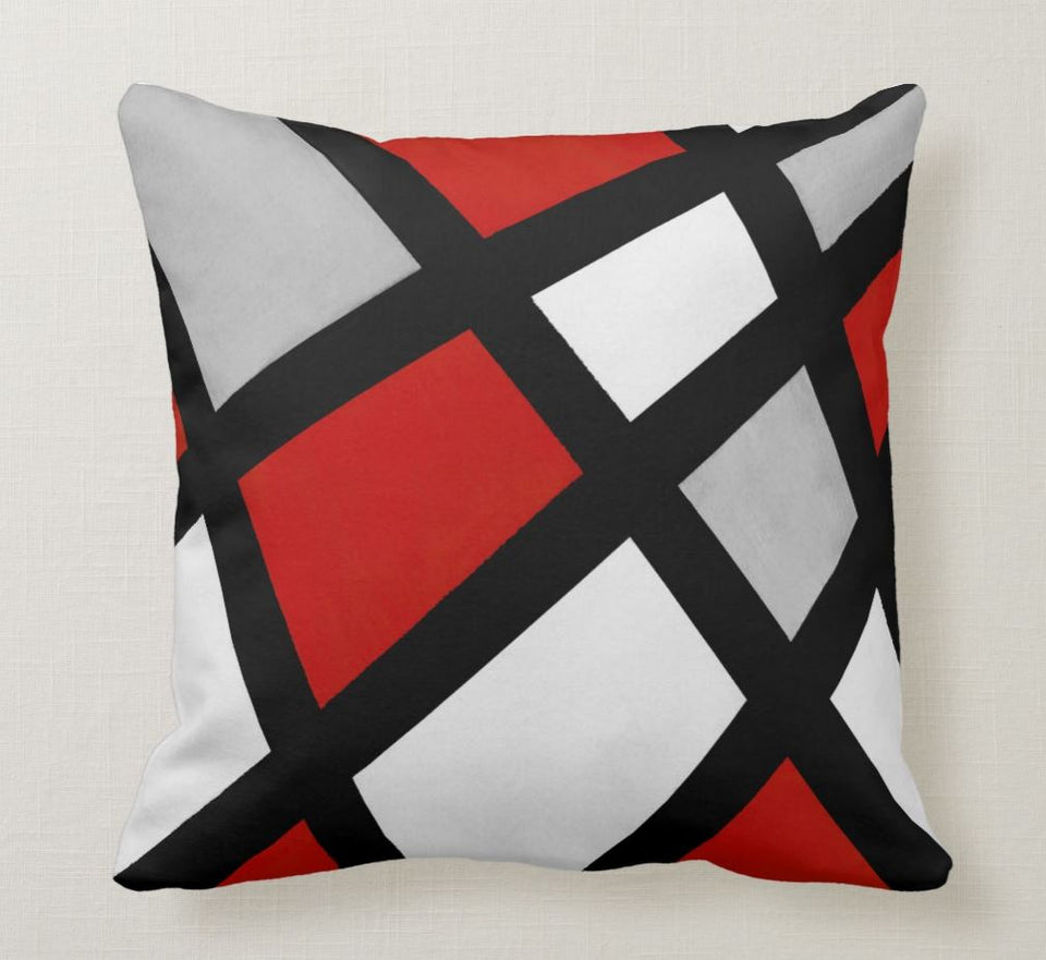SuperSoft Red Grey Black White Geometric
