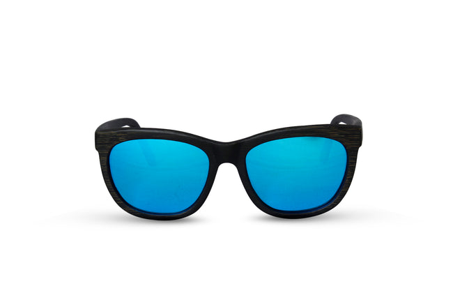 Round Black Bamboo Wood Sunglasses