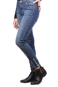 Ripped Detailing Faded Blue Mid Rise Denim Jeans