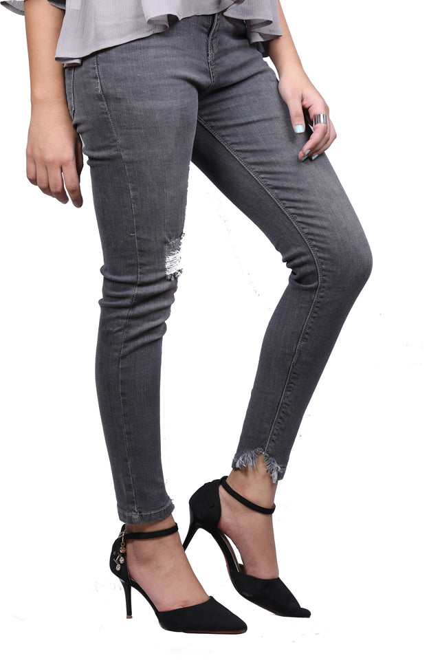 Frayed Hem Grey Mid Rise Ankle Denim Jeans