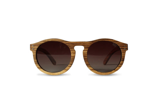 Zebra Round Wooden Sunglasses