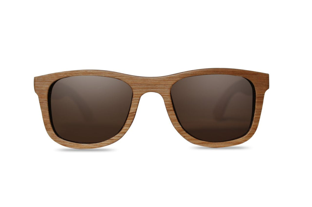 Light Brown Square Wood Sunglasses