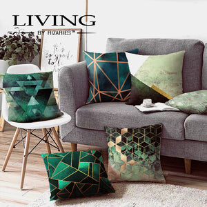 SuperSoft Green Geometric Arrangement