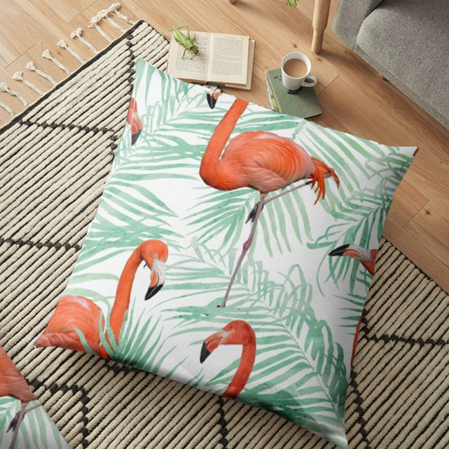 "(26""x26"") Canvas Mint & Flamingo FLOOR Cushion Cover"