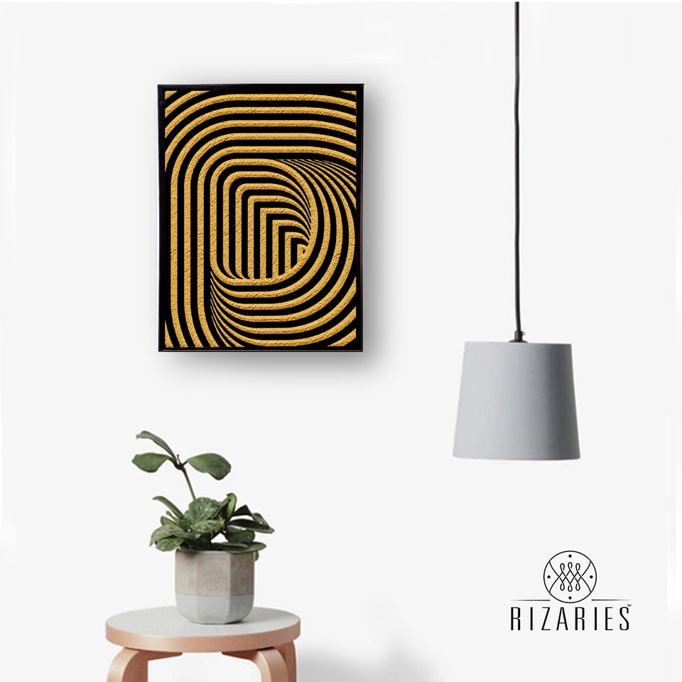 Black & Gold 3D Handmade Canvas Painting