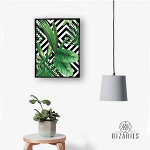 Tropical Geometric Handmade Canvas Painting