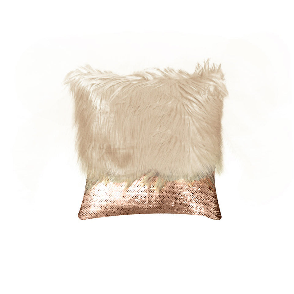 Monster fur & Sequence Brown Throw Pillow