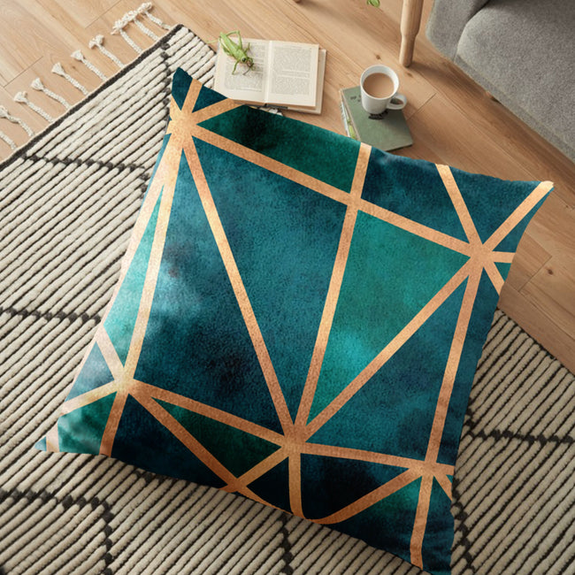 "(26""x26"") Supersoft Emerald & Copper FLOOR Cushion Cover"