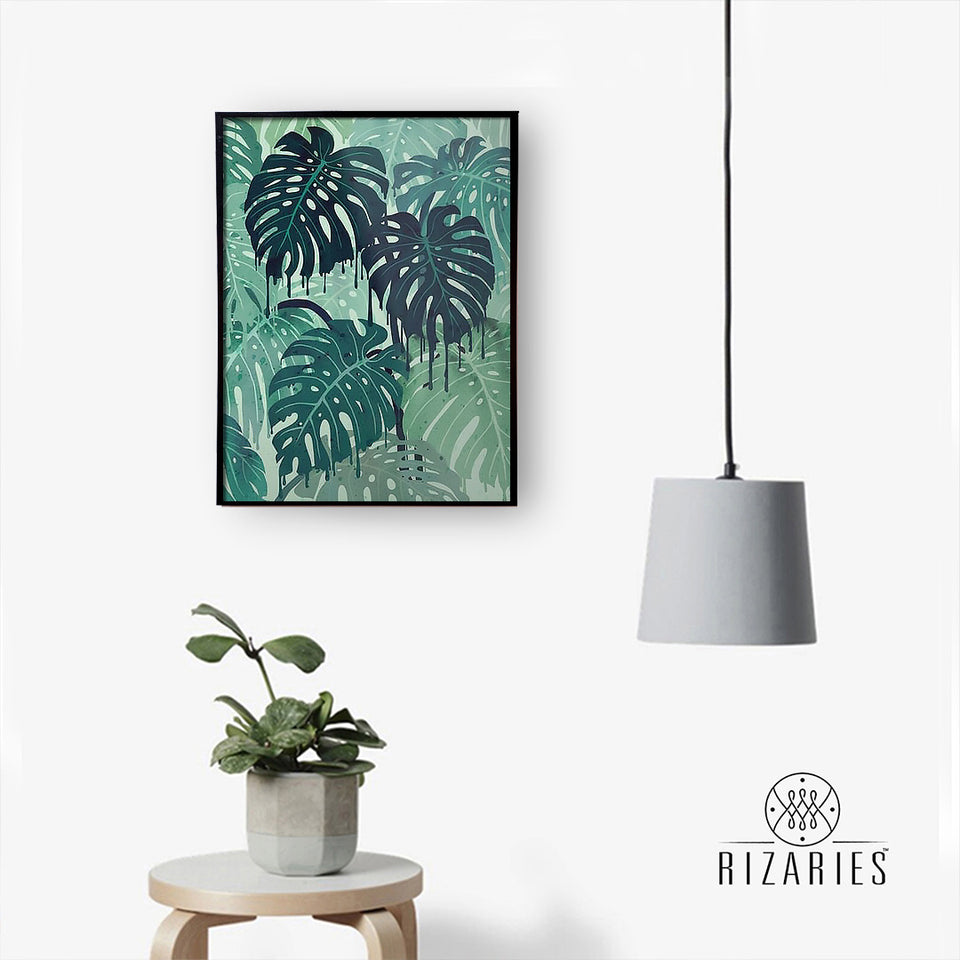 Green Tropical Handmade Canvas Painting