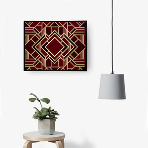 Maroon & Gold Geo Handmade Canvas Painting
