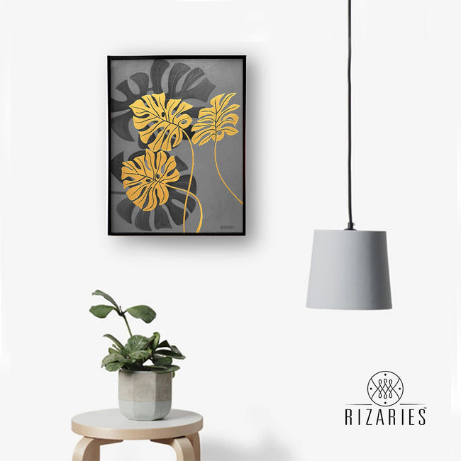 Tropical Leaves Grey Handmade Canvas Painting