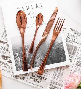 Modern Rose Gold Cutlery Set