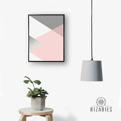 Blush Pink & Silver Handmade Canvas Painting