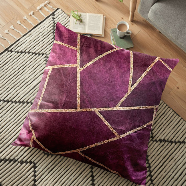 "(26""x26"") Supersoft Purple Geo FLOOR Cushion Cover"