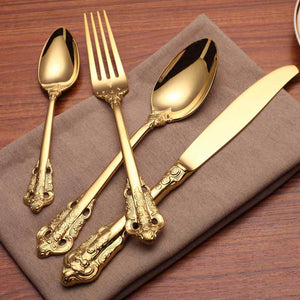 Carving Gold Cutlery Set