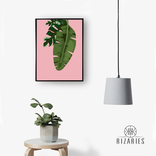 Tropical Leaves Pink 2 Handmade Canvas Painting