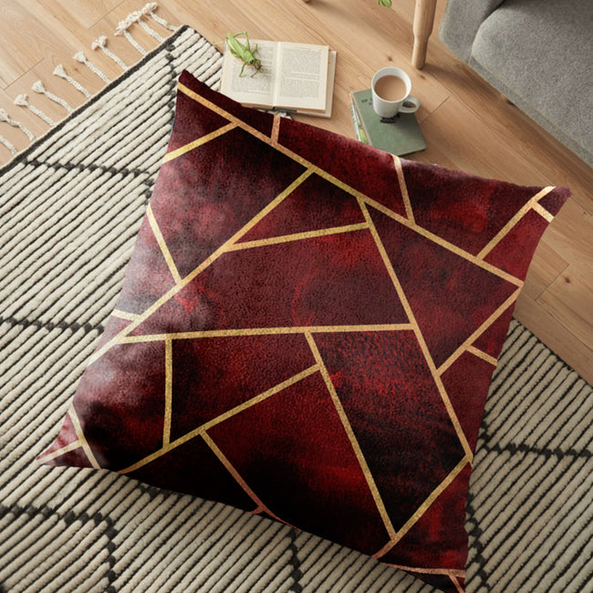 "(26""x26"") Supersoft Maroon & Gold FLOOR Cushion Cover"