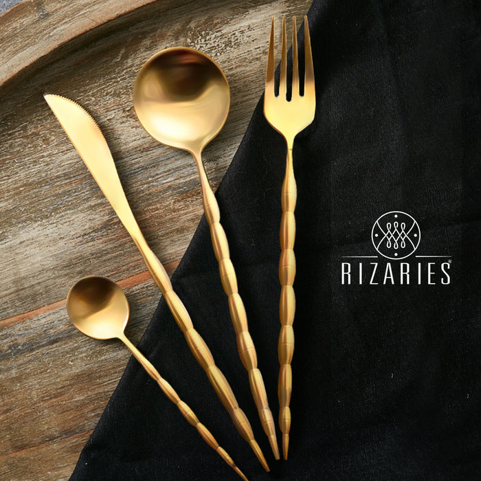 Full Gold Cut Round Gold Cutlery Set