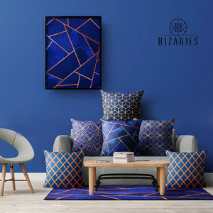 Navy & Copper Geo Canvas Painting