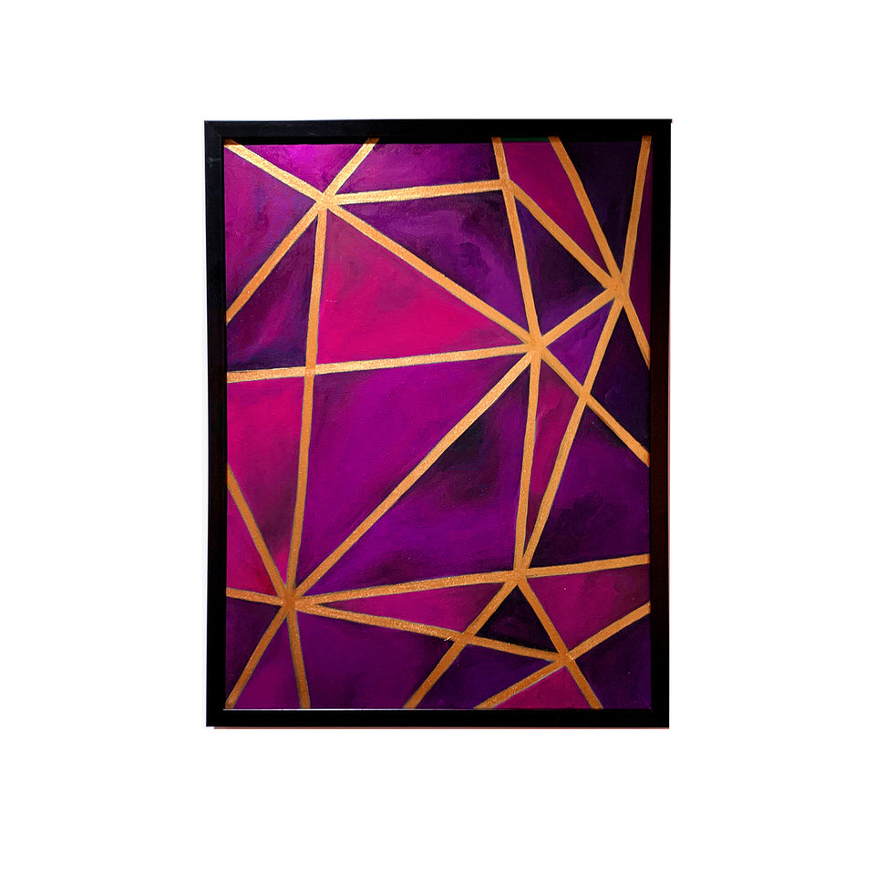 Copper & Purple Geo Canvas Painting
