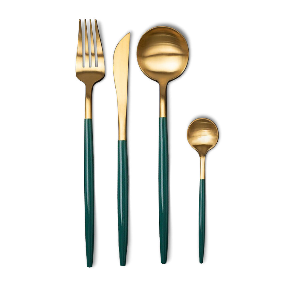 Matt Gold & Green Cutlery Set