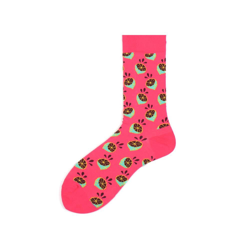 Pink Oranges Crazy Socks