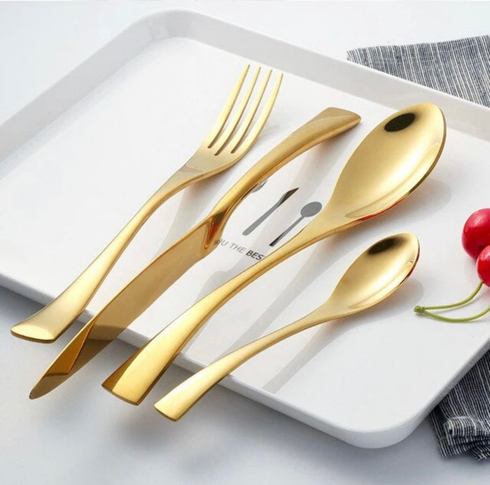 Modern Full Gold Cutlery Set