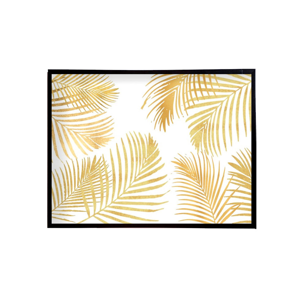 Gold Leaves on White Canvas Painting