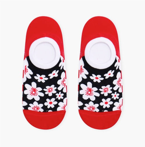 Red and Black Flower Low Cut Crazy Socks