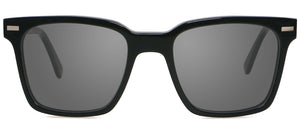 Black Square Acetate Ebony Wood Sunglasses