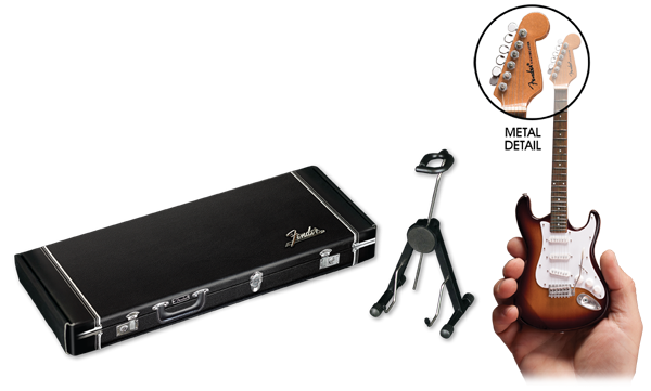 Fender® by AXE HEAVEN® Guitar Case Gift Box with Stamped Silver Foil and Adjustable A-frame Stand Included with Each Mini Guitar