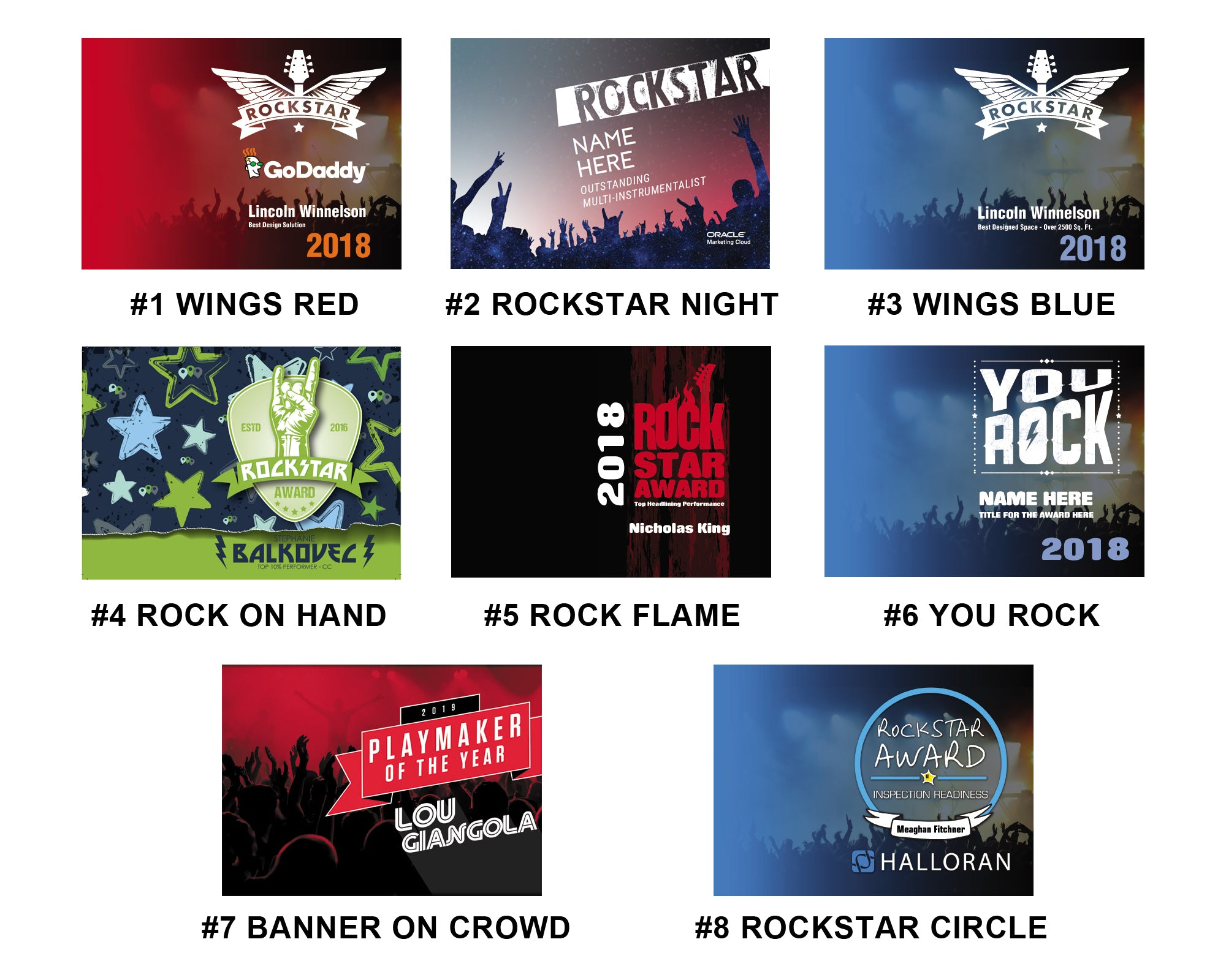 ART INSERT TEMPLATE OPTIONS for ROCKSTAR AWARD