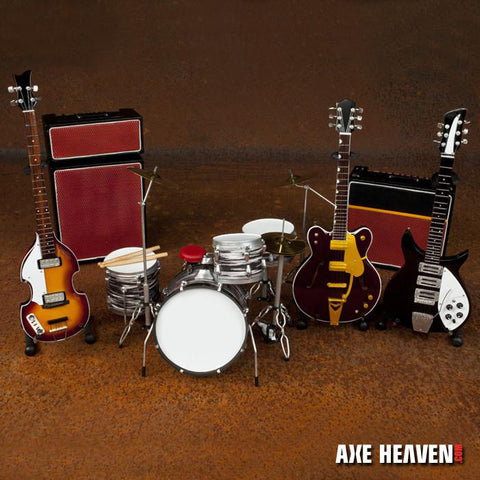 Fab Four Ed Sullivan Tribute Mini Guitars, Drum, and Amp Replica Collection