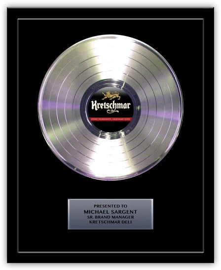 "12"" Platinum Record - Basic Framed Rockstar Award - Metalized Platinum Record"