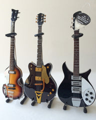 Fab Four Set of 3 Classic Miniature Guitar Replica Collectibles