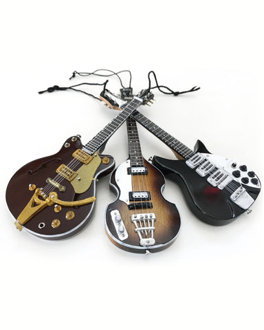 "6"" Fab Four Ed Sullivan Set of 3 Mini Guitar Holiday Ornament"